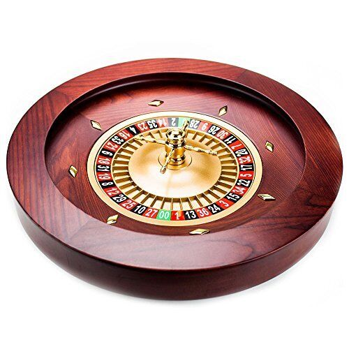 Casino Grade Deluxe Wooden Roulette Wheel, Red/Brown Mahogany, 18""