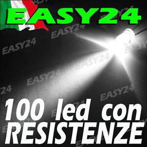 100-DIODI-LED-BIANCO-BIANCHI-ALTA-LUMINOSITA-039-20-gradi-5-mm-con-resistenze