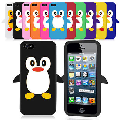 iPhone 5 Penguin Design Silicone Case Cover + Free Screen Protector  ()