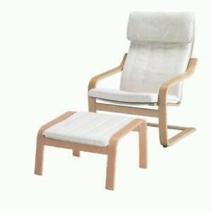 POÄNG Armchair & Footrest, Birch Veneer & beige cushion