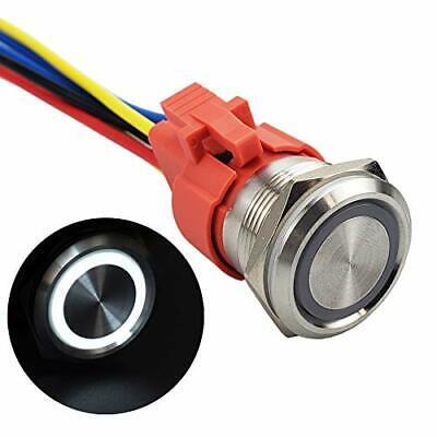 APIELE 10 Amp 22mm Latching Push Button Switch 12V Angel Eye LED Waterproof S...