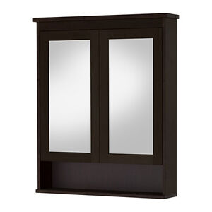 Brand New IKEA Mirror cabinet with 2 doors, black-brown stain