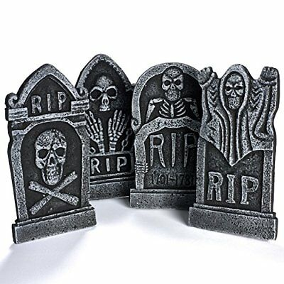 "4-Pack 17"" Foam RIP Graveyard Tombstone Halloween Decorations Halloween Décor - Halloween Cemetery Decorations"