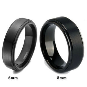 Solid-Titanium-Black-Ring-Brushed-Men-039-s-Wedding-Band-Comfort-Fit-6mm-8mm