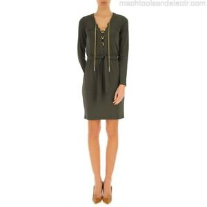 Michael Kors Lace Up Chain Belted Shirt Dress Small Green NWT