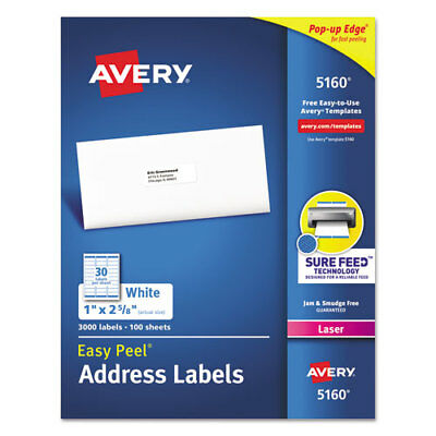 Easy Peel Mailing Address Labels Laser 1 X 2 58 White 3000box