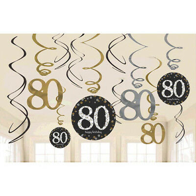 SPARKLING CELEBRATION 80th Birthday SWIRL DECORATIONS (12) ~ Party Supplies Foil