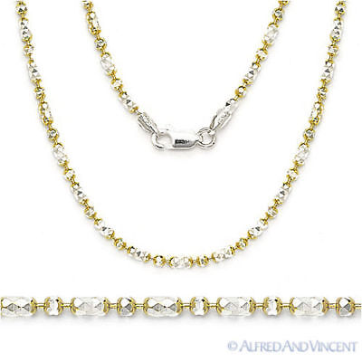2-Tone .925 Sterling Silver 14k Yellow Gold 2.3mm Bead Link Chain Necklace Italy