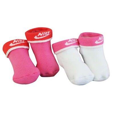 Nike 2 Paar Kleinkinder Baby Füßlinge Set Krippe Socken Geschenk Rosa Weiß (Baby, Kleinkind Nike-socken)