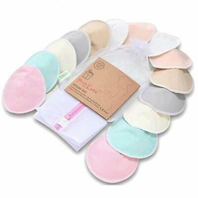 "Organic Bamboo Nursing Breast Pads - 14 Washable Pads (Pastel Touch, Large 4.8"")"