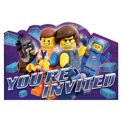 LEGO MOVIE 2 INVITATIONS (8) ~ Birthday Party Supplies Stationery Cards - Lego Birthday Invitations