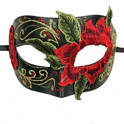Men's Mask Halloween Unisex Masquerade Mask with Red Rose Design Costume Mask