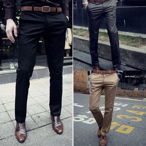 Men Solid Formal Business Long Pants Slim Fit Straight Leg C