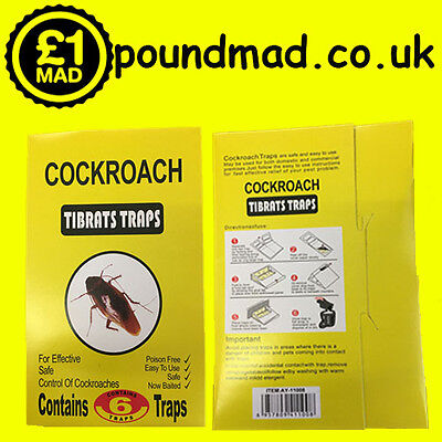 6 Cockroach Glue Traps Spider Ant Woodlice Pest Control Insect Bug Killer UK