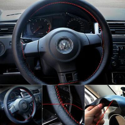 DIY 38cm/15'' Steering Wheel Cover Genuine Leather Car Anti-Slip Needle Thread