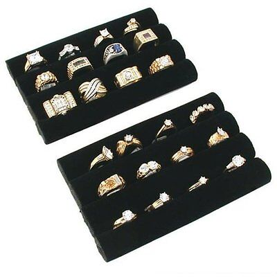 1 X 2 Black Velvet Ring Trays Jewelry Pad Showcase Displays 5.5 New Free Ship