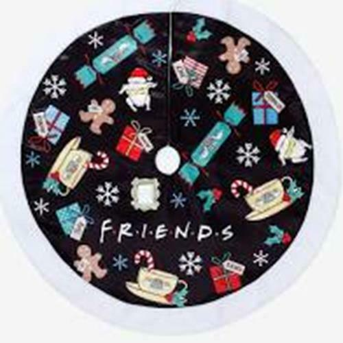 "Friends TV Show Christmas Holiday Tree Skirt Black 48"" Coffee Turkey Holly NEW"