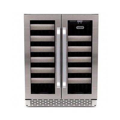 Wine Bottle Refrigerator Stainless Steel Door Window Shelf Dual Zone Cooler Rack ()