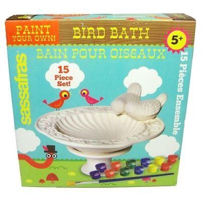 SASSAFRAS READY TO PAINT YOUR OWN BIRD BATH SET CERAMIC CHILDREN'S CRAFT KIT