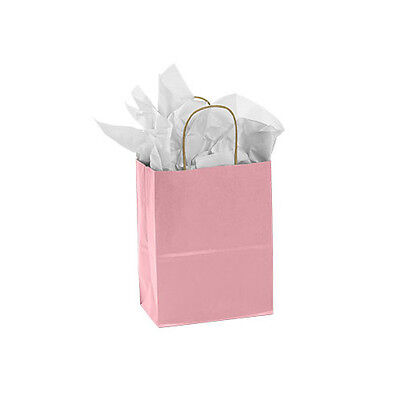 Count Of 100 Medium Pink Paper Shopping Bag 8 X 4 X 10