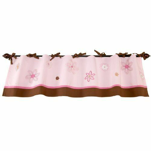 New Pink Brown Floral Window Nursery Valance~Applique Organic Cotton SERENITY