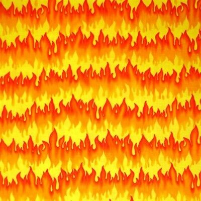 Hot Rods Light'em Up Red Orange and Yellow Flames Cotton Fabric Fat Quarter - Light Up Fabric