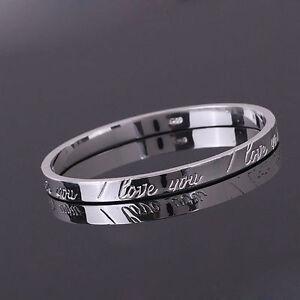 Women Girl Lady Gift SILVER Trendy Bracelet Bangle I LOVE YOU Engraved Xmas Gift