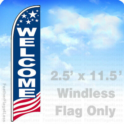 Welcome - Windless Swooper Feather Flag 2.5x11.5 Banner Sign - Usa Bb