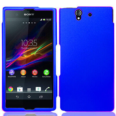 Rubberized Blue Snap - For Sony Xperia Z Rubberized Hard Snap On Protector Case Phone Cover Blue