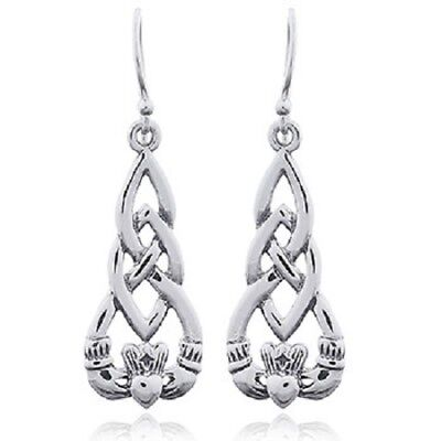 (Silver earrings 925 sterling irish knot celtic Claddagh  37mm height jewellery)