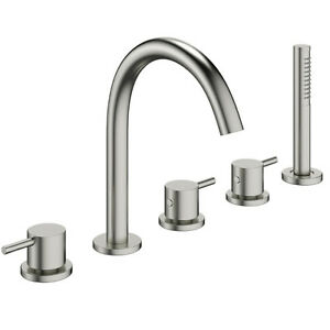 Crosswater Mike Pro 5 Tap Hole Bath Set Brushed Stainless Steel