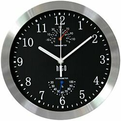 hito Modern Silent Wall Clock Non Ticking 10 inch Excellent Accurate (Black)