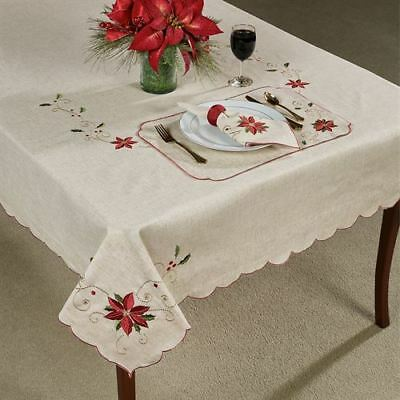 LENOX French Perle Red Embroidered Swirl on TanTablecloths /& Placemats U Pick NW