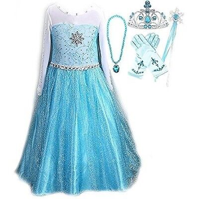 SweetNicole Snow Queen Elsa Princess Party Dress Costume with Accessories (Queen Costume Accessories)