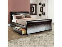 Black leather King size Bed Frame - mattress also available FREE