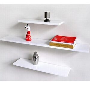 HIGH GLOSS WHITE SOLID FLOATING SHELF 3PCS SET WALL SHOP DISPLAY GYPROCK OK