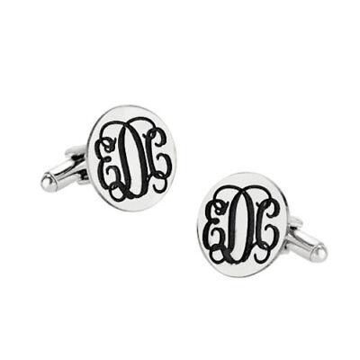 Custom Engraved Initials Groom Wedding Cufflinks in 925 Sterling Silver