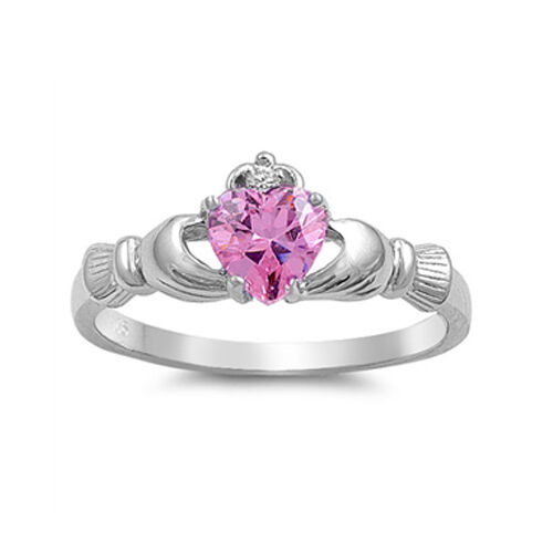 .925 Sterling Silver Irish Heart CZ Claddagh Promise Ring Size 4 5 6 7 8 9 10