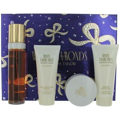 WHITE DIAMONDS BY ELIZABETH TAYLOR 3.3OZFOUR PIECES GIFT SET FROM E. ARDEN (Arden Store)