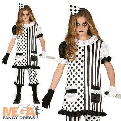 Pierrot Clown Girls Fancy Dress Mime Horror Circus Halloween Kids Childs Costume