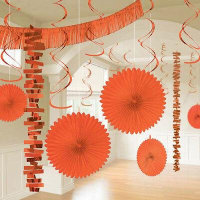 ORANGE DELUXE ROOM DECORATING KIT (18pc) ~ Wedding Birthday Party Supplies -