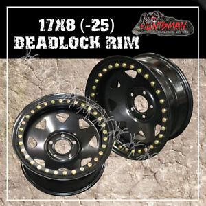 17X8 Beadlock 5 STUD BLACK STEEL WHEEL -25 OFFSET Jeep Wrangler 5/127