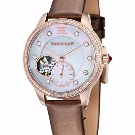 New Thomas Earnshaw LADIES AUTOMATIC SWISS MADE WATCH. Mother of Pearl Dial, Brown Leather Bracelet.
