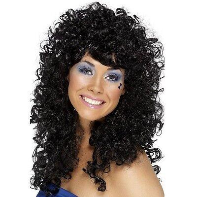Damen 80er Jahre 1980er Boogie Babe Kostüm Perücke - Schwarz Babe Perücke