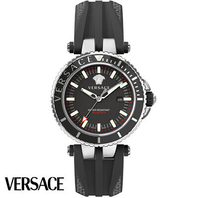 Versace VEAK00118 V-Race Diver black silver Rubber Men's Watch NEW