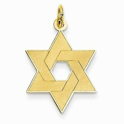Stars Gold Laser Charm (14K YELLOW GOLD LASER ETCHED STAR OF DAVID  CHARM / PENDANT  RELIGIOUS)