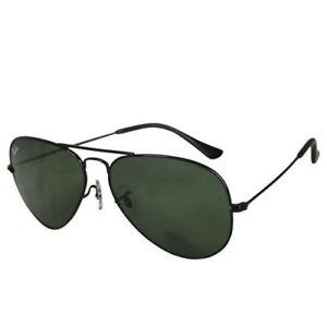 869b6f86639 Ray-Ban Aviator Rb3025 00258 Black Frame Green Lens Sunglasses 58mm ...