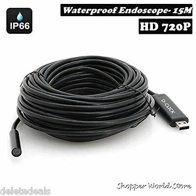 Pipe Inspection Camera Hd 720p Usb Endoscope Video Sewer Drain Waterproof 50 Ft