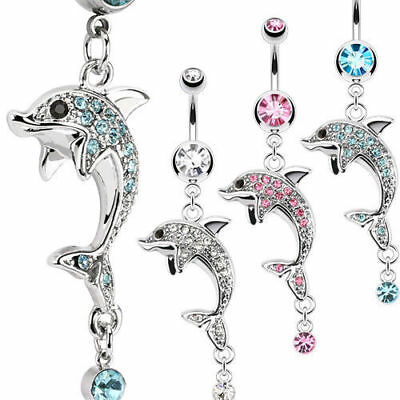 Dolphin Dangle Belly Ring Paved W/ Multi CZ Gems Pierced Navel Naval 14g