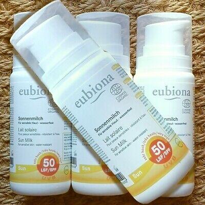 Freundliche Sonnenschutz (Eubiona SUN Sonnenmilch LSF 50 sensible Haut 100ml nanofrei riff-freundlich bio)